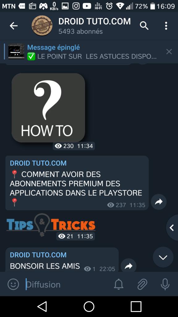 DroidTuto telegram web